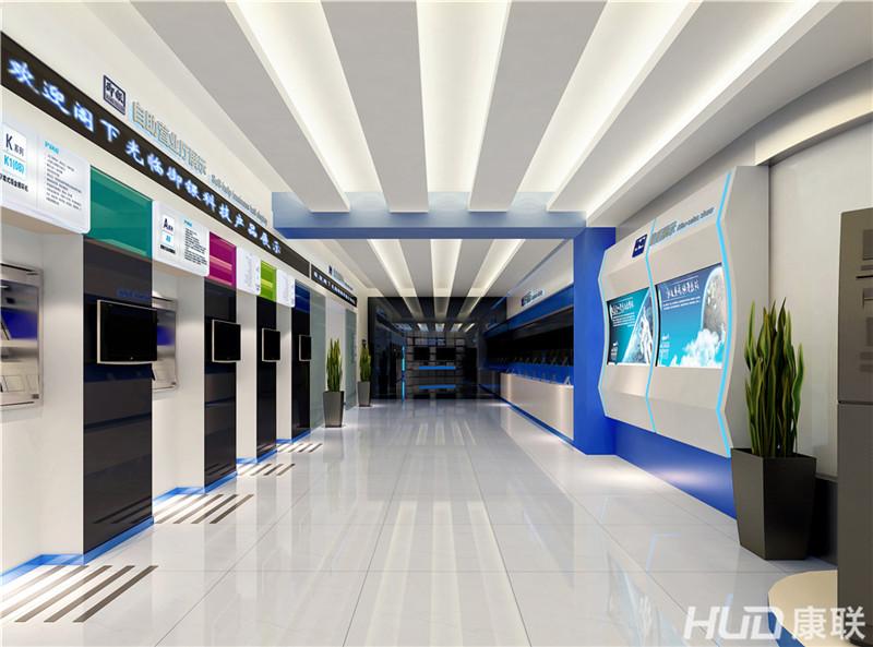设计理念:御银科技atm展厅装修设计采用简约时尚的装修风格,结合空间
